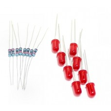 Super bright 5mm Diffused Red LED with Metal Film Resistors