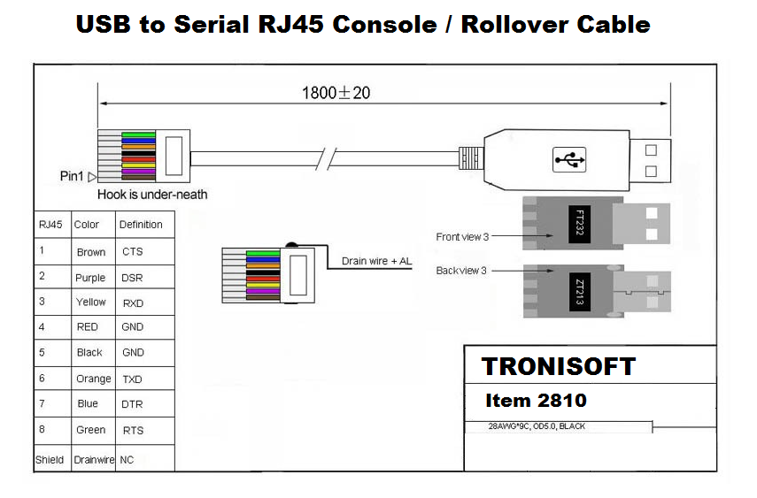 USB to Serial RJ45 Console Cable - FTDI FT232R IC - Tronisoft Item 2810