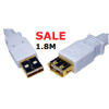 USB 2.0 Extension Cable - Gold Plated - 1.8M White